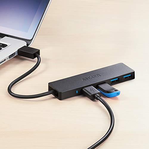 Anker Ultra Slim Extra Leicht 4 Port USB 3.0 Hub, Datenhub, Adapter für MacBook, Mac Pro, Mac mini, iMac, Surface Pro, XPS, PC, Flash Drive, Mobile HDD(Schwarz)