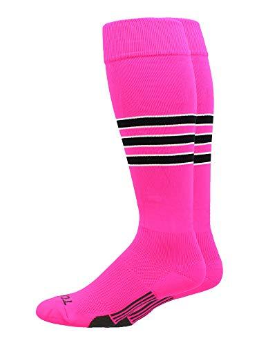 MadSportsStuff Dugout Baseball-Socken, 3 Streifen, über die Wadenlänge (mehrere Farben), Jungen, Neon Pink/Schwarz/Weiß, Medium