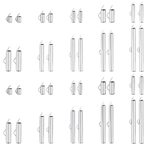 UNICRAFTALE Sobre 100pcs 10 Estilos Slide On End Broche Tubes, Cierres de Extremo de Joyería de Acero Inoxidable de 3 mm Y Conectores Cierre Tapas Deslizantes Metal para Manualidades de Fabricación