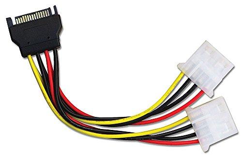 LINDY Internes SATA Stromadapterkabel von 1x 15 pol. SATA Stecker an 2X 5,25