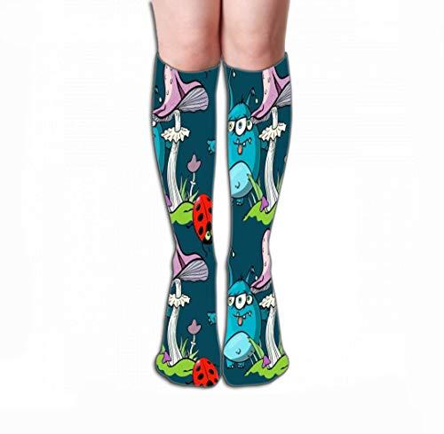 Mannen Vrouwen Outdoor Sport Hoge Sokken Stocking magische paddestoel grappige monster lieveheersbeestje naadloos patroon magie paddestoel grappige monster lieveheersbeestje naadloos patroon cartoon Tegel lengte 19.7