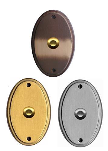Messing Türklingel-Klingel-Klingelplatte-4 Farben-Schild 112 x 75 x 5 mm-Verschraubung von vorne (70 K -Messing Mattchrom (wie Edelstahl))