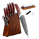 Knife Block Set with Built in Sharpener Stone - Yarenh Professional Chef Knife Set 8 Piece - Japanese High Carbon Damascus Stainless Steel - Full Tang Forged Handmade - Galbergia Wooden Handle