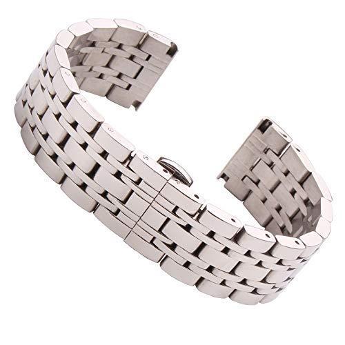 Correa de Reloj 18Mm 20Mm 22Mm Correa de Reloj de Acero Inoxidable Correa de Reloj de Metal Pulido Plateado Reemplazo para Hombre Accesorios de Pulsera # D34 Compatible con Relojes