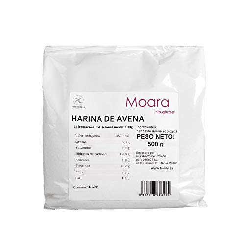 Harina de Avena Bio Sin Gluten Sin Soja Vegano 500g