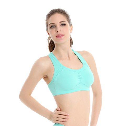 Yuanu Mujer Secado Rápido Transpirable Multi-Función Shockproof Sujetador Deportivo Suave Cómodo Full Cup Yoga Dormir Bra Sin Aros Verde Menta L