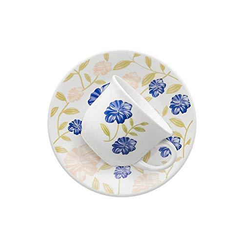 Conjunto com 6 Xícaras de Chá Biona Azul Perfeito Branco/Azul