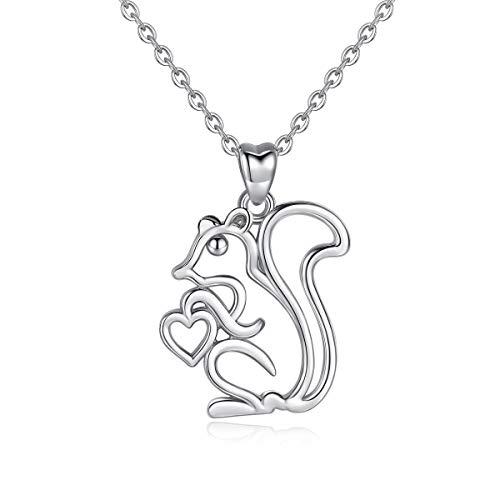 Collares de plata de ley 925 para mujer, colgante de ardilla, cadena Rolo de 45,72 cm AEONSLOVE joyas regalos para mujer mujer esposa y niñas