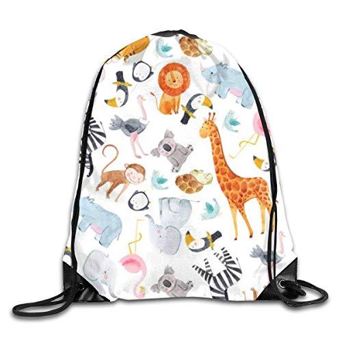 shenguang Safari Animal Acuarela Patrón con cordón Mochila Deportiva Gimnasio Yoga Sackpack String Bag Travel Storage Sack para Mujeres y Hombres Adecuado para la Escuela Natación Correr Playa