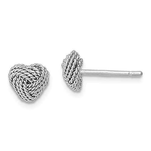 Pendientes de plata de ley 925 con forma de corazón y nudo para mujer