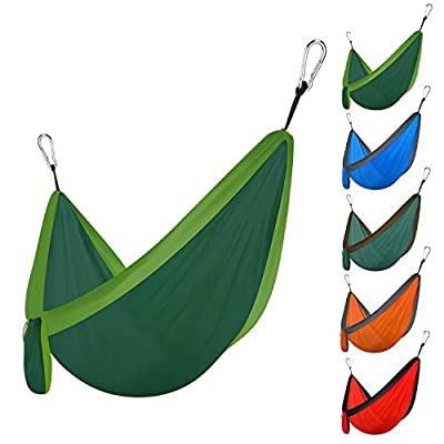 Hammock Portable Double Camping Hammocks?for Hiking?Camping?Backpacking?Travel?Yard?Beach (Blackish Green/Light Green)