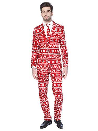 Suitmeister Weihnachtsanzüge für Herren – Christmas Red Nordic – Besteht aus Sakko, Hose und Krawatte – EU54 / L