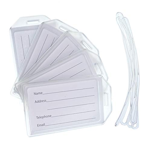 Specialist ID Of Premium Rigid Airline Luggage Tag Holders With 6' Worm Loops 5 Pack Clear