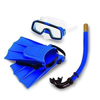 Snorkeling Set, Snorkeling Scuba Diving Mask Dry Snorkel Fins Set, Children Kids Youth Snorkel Combo Set Swimming Diving Silicone Fins+Snorkel Scuba Eyeglasses+Mask Snorkel Blue