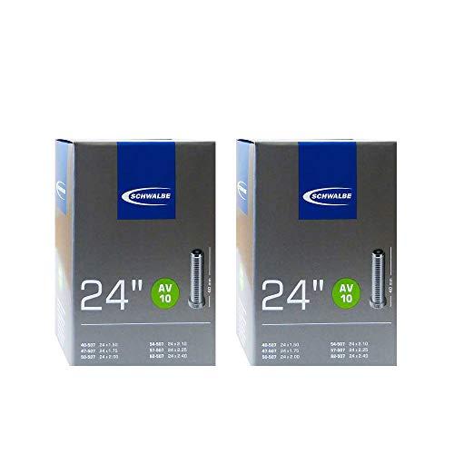 2 X Schwalbe AV10 Innenschlauch, Schwarz, 24 Inch x 1.5 (40mm Schrader Valve)