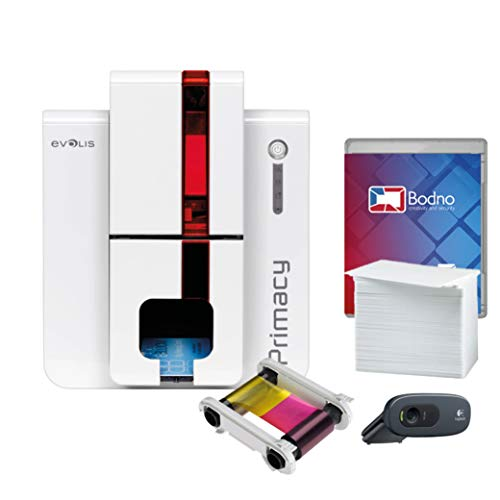 Evolis Primacy Dual Sided ID Card Printer & Complete Supplies Package with Bodno Bronze Edition ID Software