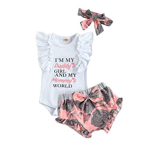 Eghunooze Baby Mädchen Sommer 2 Stücke Kleidung Set Kurzarm Rüsche Strampler Top + Blumenmuster Tie Shorts + Stirnband Neugeborenen Prinzessin Bekleidung Outfits (Blumen 03, 0-3 Monate)