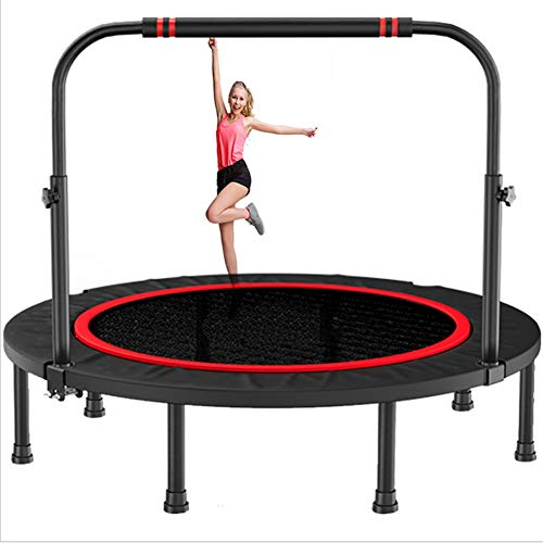 N / A Home portable fitness trampoline, foldable silent aerobic exercise trainer for continuous bounce, adjustable armrests