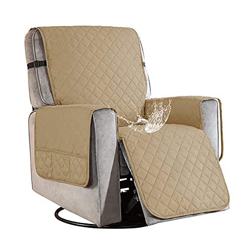 Sesselschoner für Fernsehsessel Relaxsessel, 1 Sitzer Sesselschoner mit Taschen Beige Sesselauflage Relaxsessel Sesselüberwurf Wasserdicht Sesselschutz Sofaüberwurf für Hunde Haustieren