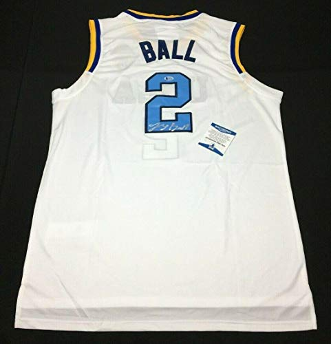 Lonzo Ball Signed White UCLA Bruins Basketball Jersey BAS Beckett J85276 - Beckett Authentication - Autographed College Basketballs
