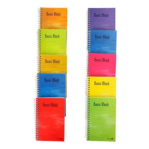 Pack de 10 Cuadernos cuadriculados nº16 con Anilla de Espiral en el Lateral, con Medidas de 8 x 10,5 cm, Ideal para Tomar Notas en Cualquier Lugar y de Color Surtido