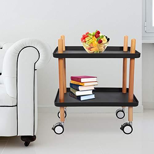 2-traps opbergwagen met bewegende wielen, keukentrolley, rek voor keuken, kantoor en badkamer. Blanco Y Gris