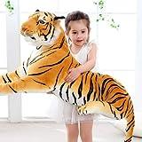 AYQX Gran Tigre Realista, Leopardo, Pantera, Juguete de Peluche, Animales de Peluche Suaves, simulación, Tigre Blanco, Jaguar, muñeca, niños, Regalo de cumpleaños para niños, 90 cm, Amarillo