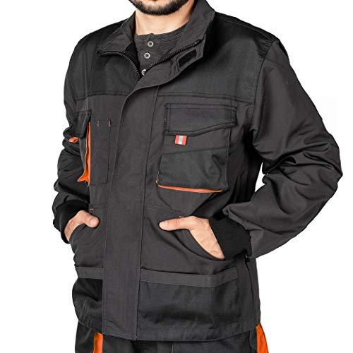 Mazalat Arbeitsjacke männer, Arbeitsjacken Herren, Schutzjacke mit vielen Taschen, Arbeitskleidung männer Größen S-XXXL, Qualität (XXL, Schwarz/Orange)