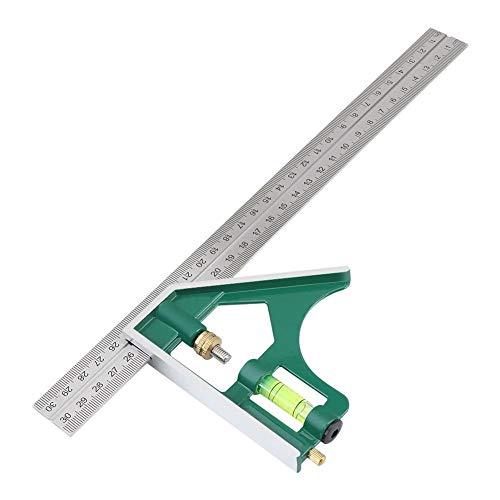 300MM Combinación Escuadra Regla ángulo, acero inoxidable 45/90 grados de ángulo de medición de herramientas con la burbuja conjunto de niveles de piezas