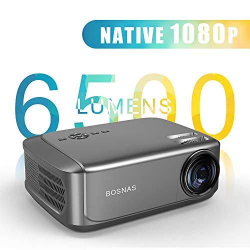 Proyector, BOSNAS 6500 Lúmenes Proyector Full HD 1920 x 1080P Nativo Proyector Cine en Casa Soporta 4K Sonido Hi-Fi Proyector LED 78000 Horas Bajo Ruido Video Fluido PS4 HDMI USB VGA AV