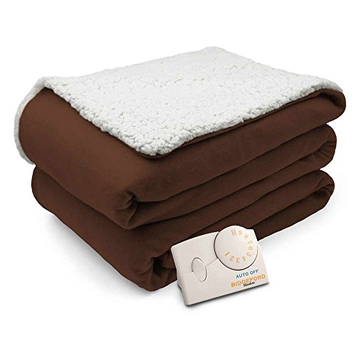 Pure Warmth Comfort Knit Natural Sherpa Electric Heated Blanket Twin Chocolate