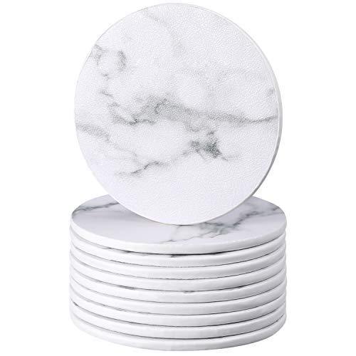 Leder Untersetzer Set von 10, 3,7 Zoll Weißen Marmor Stil Untersetzern, Rundes Getränk Verschüttet Untersetzer für Zuhause, Küche und Büro
