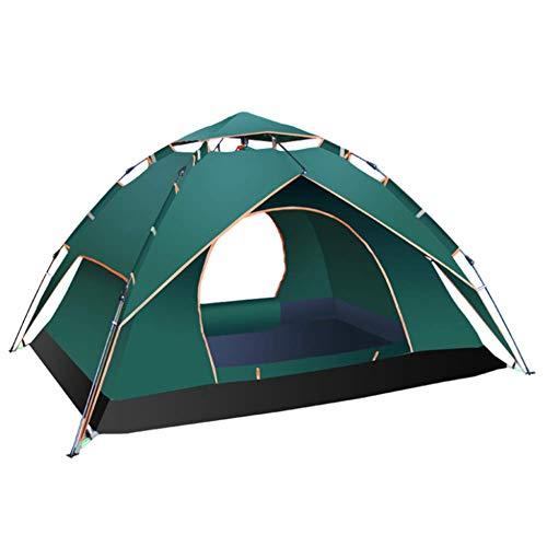 LUSHUN Camping Zelt, 3-4 Personen Wasserdichtes Kuppelzelt,doppelwandig, Igluzelt mit Vorzelt, für Familiengarten Camping Familiengarten Angeln,Grün