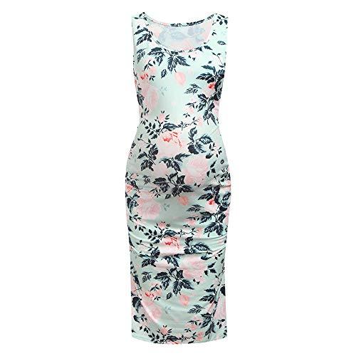 DFEBV Kleider Für Schwangere Blumen-Umstandskleid Für Frauen Lässig Ärmellose Sommer-Umstandskleider Für Schwangere-Mint_Green_S
