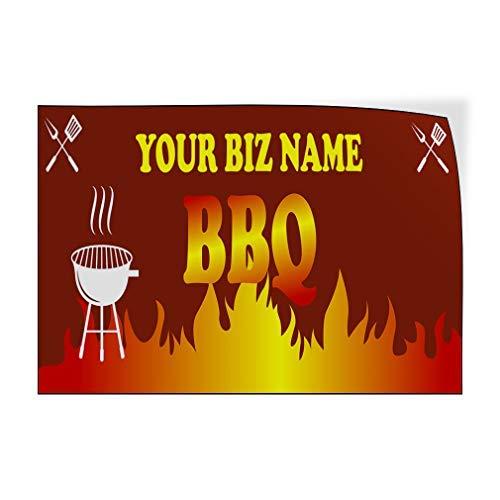 Bedrijfsnaam BBQ Grill Vuur Aangepaste Deur Decals Vinyl Stickers Restaurant & Voedsel Bruin 20 x 30 Metalen Decor Metalen Tin Tekens Outdoor Teken Verjaardagscadeau Grappig Teken Muur Art Decoratieve