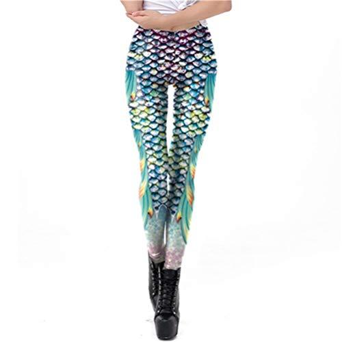 MGGR.O Galaxy Mermaid Frauen Workout Fitness Legging Bunte glänzende Fischschuppen gedruckt Leggins