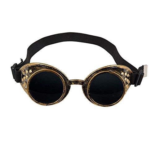 Boland 54503 - Brille Steampunk, schwarz-gold, messingfarben, Kunststoff, Gummiband, dunkle Gläser, one size, verstellbar, Karneval, Halloween, Fasching, Mottoparty, Kostüm, Theater, Accessoire