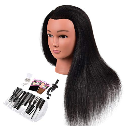 "Cosmetology Mannequin Head with Human Hair, Premium 100% Real Human Hair Mannequin Manican Heads, Maniquins Manikin Head with Human Hair Styling Braiding Practice (14"" Natural Black #1B)"