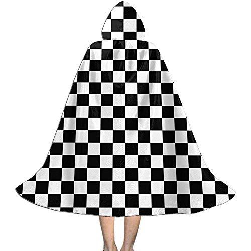 KDU Fashion Capa De Bruja,Tablero De Ajedrez Tablero De Ajedrez Niños con Capucha Capas De Mago Personalizadas para Disfraces De Brujos 88cm