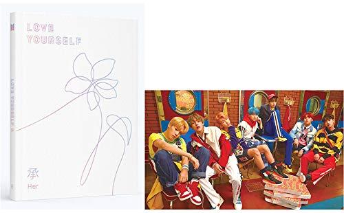 """BTS Album """"Love Yourself: Her"""" von der Band Bangtan Boys, E-Version des Albums, CD + Poster + Fotobuch + Fotokarte + Mini-Buch + Sticker-Pack + 6 Fotokarten und 1 doppelseitiges Fotokarten-Set"""