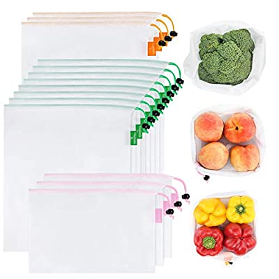 15 Pcs Reusable Mesh Produce Bags, Gogooda 3 Size Lightweight Washable and See Through Produce Mesh Bags with Drawstring, Toggle Tare Weight Color Tag