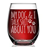 Shop4Ever My Dog & I Talk Shit About You Engraved Stemless Wine Glass Funny Gift For Dog Mom Dog Lover
