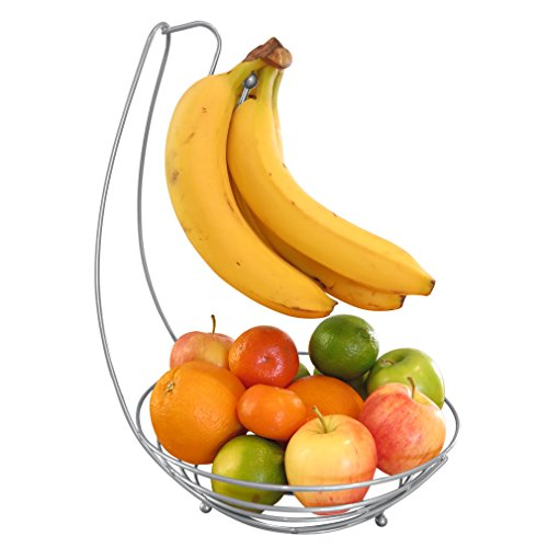 "Evelots 3319 Countertop Fruit Tree Basket Bowl Stand W/Banana Hanger, 10"" D, Silver"