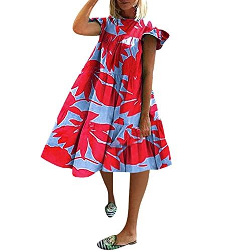 StarneA Kleider Damen Sommer, Lockeres Lässiges Rundhals Swing Kleid Kurzarm Druckkleider A Line Sommerkleid Damen Urlaub Kleider Elegante Strandkleider