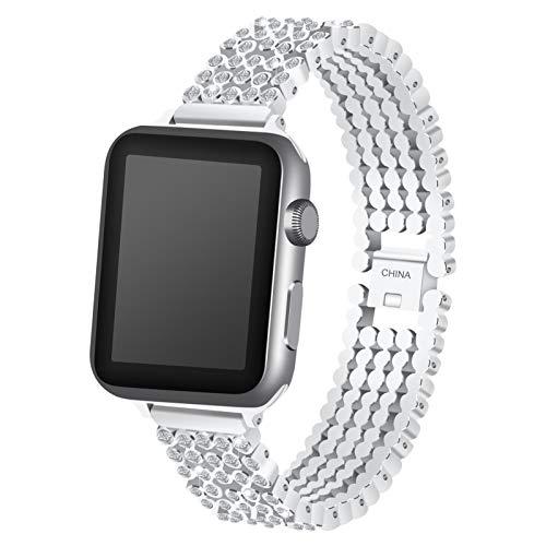 ZLRFCOK Correa de Diamante de Cristal para la Banda de Reloj de Apple 38mm 42mm 40mm 44mm SE Bandas de reemplazo de Acero Inoxidable para iWatch Series 6 5 4 3 2