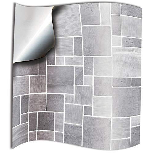 24x Gris blanco Lámina impresa 2D 10x10cm PEGATINAS lisas para pegar sobre azulejos cuadrados de 10cm en cocina, baños resistentes al agua y aceite