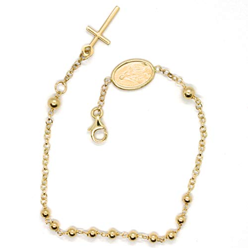 pulsera de Oro Amarillo De 18K 750, rosario, bolas de 3mm, Cruz, m