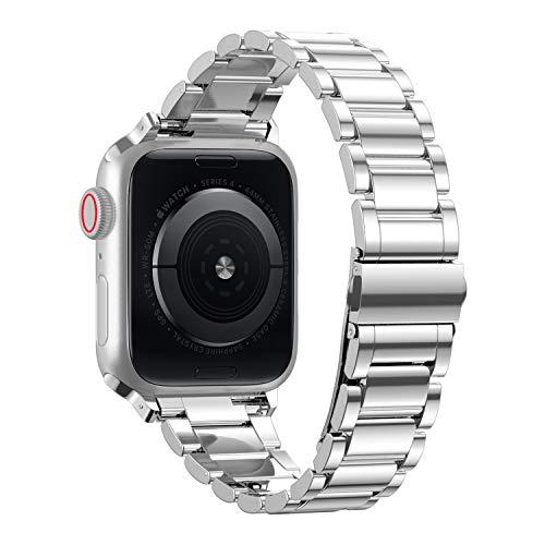 TOWOND Correa de Reloj Compatible con Apple Watch SE 6/5/4/3/2/1, Correa de Metal para iWatch 38/40/42/44 mm, Repuesto para Apple Watch, Correa de Reloj para Hombre para iWatch SE Blateado, 42/44mm