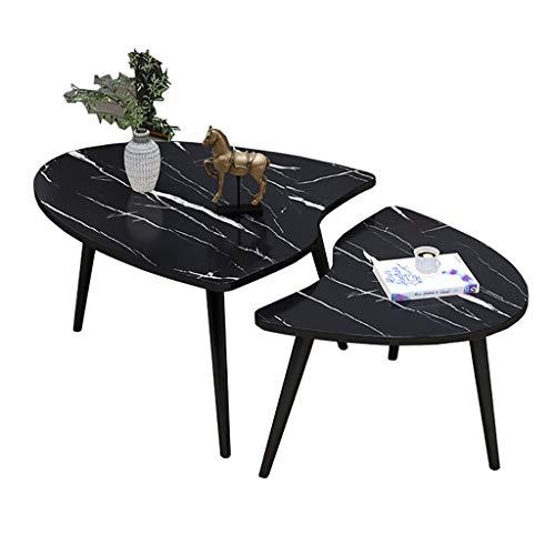 Mesa de café, sofá mesa auxiliar/mesa de esquina, (MDF+metal), mesa de ocio, para sala de estar, balcón, 6 colores (color: A)