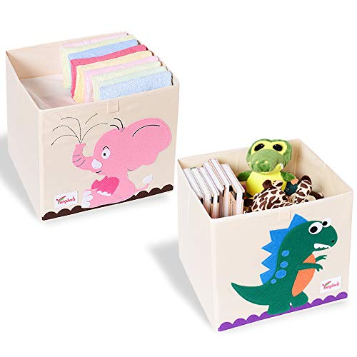 SITAKE 2 Pcs Foldable Animal Toy Storage Box/Bin/Cube, Collapsible Storage Organizer Chest Basket Container for Kids, Toddlers, Boys and Girls(13 x 13 x 13 Inch, Dinosaur & Pink Elephant)